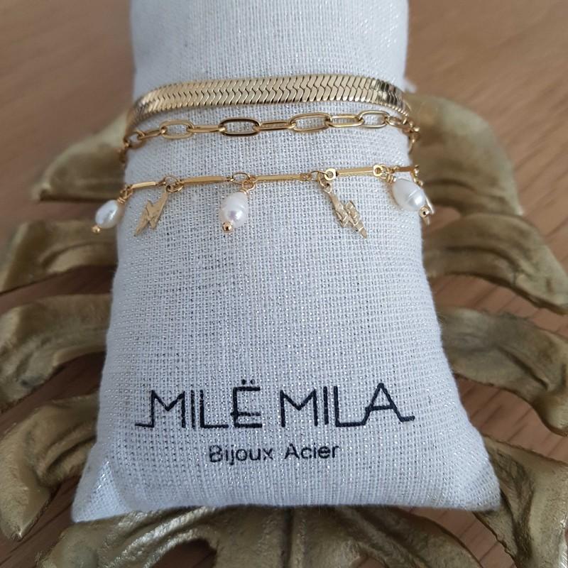 Bracelet doré 3 rangs avec motifs éclairs et perles de nacre, Leyabijoux.com
