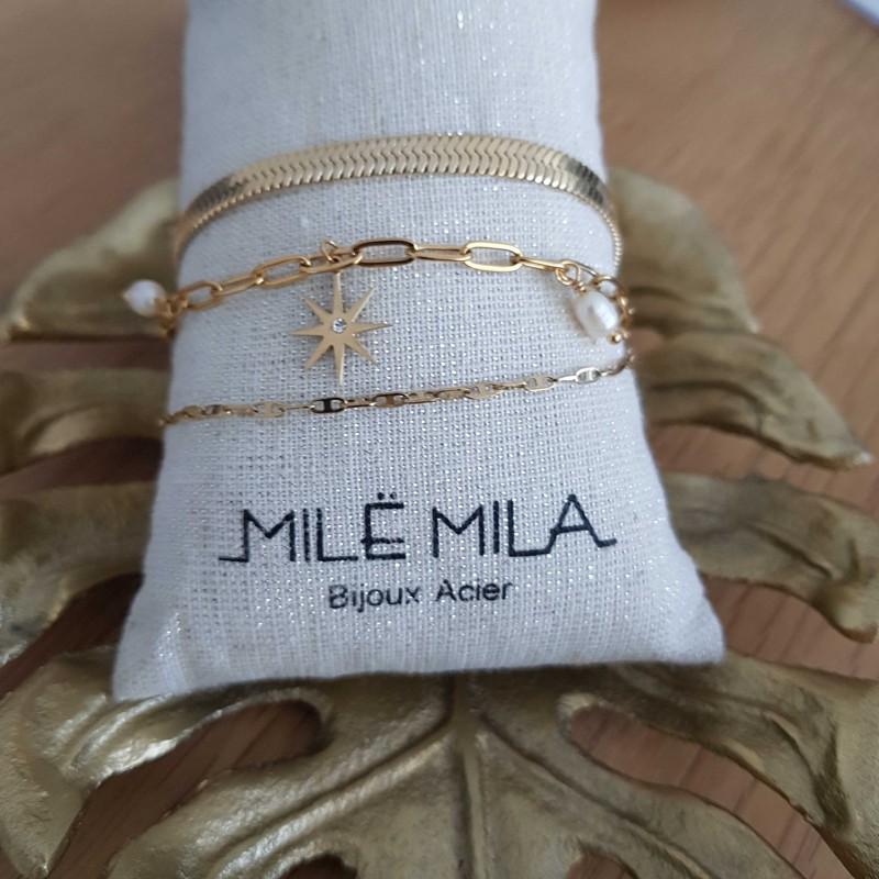 Bracelet doré 3 rangs avec motif étoile strass et perles de nacre, Leyabijoux.com