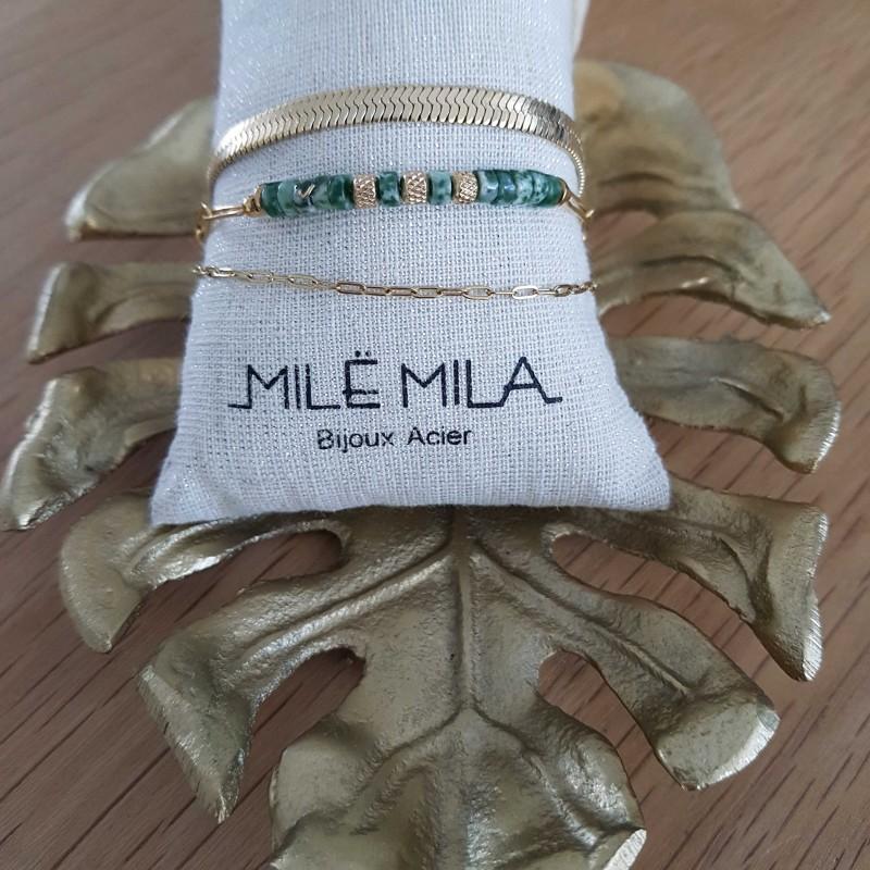 Bracelet doré 3 rangs avec perle vertes nuancées, Leyabijoux.com