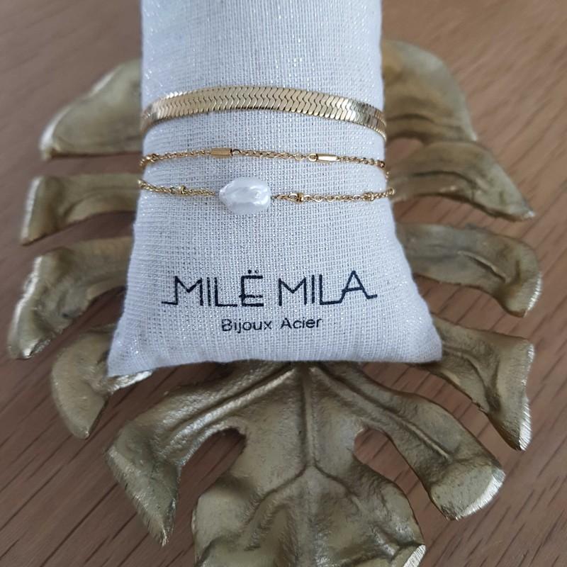 Bracelet doré 3 rangs avec perle de nacre, Leyabijoux.com