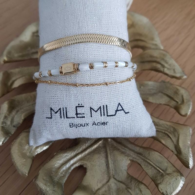 Bracelet doré 3 rangs avec perle carré oeil, Leyabijoux.com