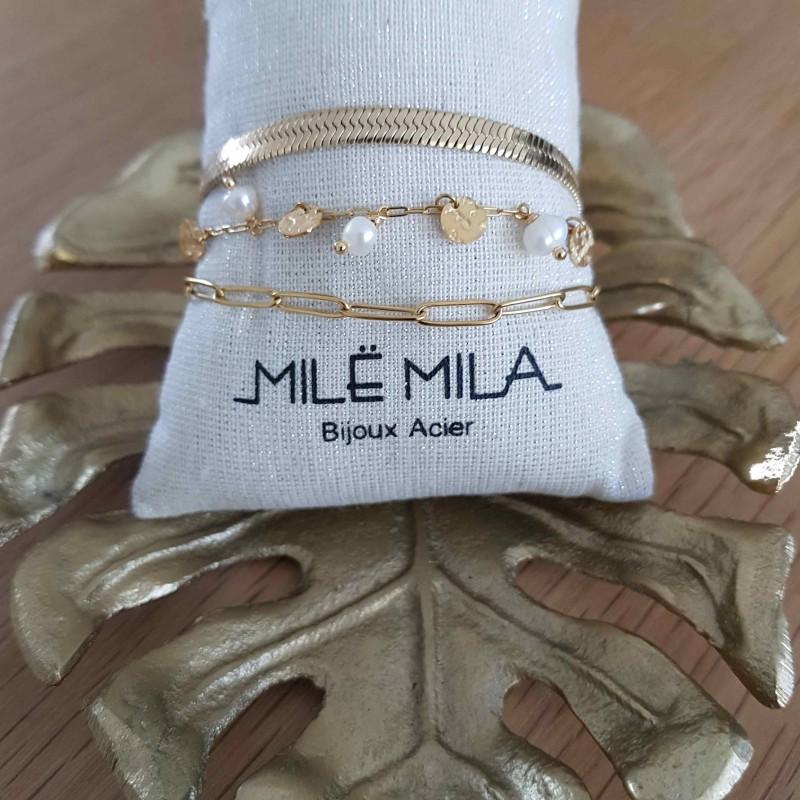 Bracelet doré 3 rangs avec perles de nacre et pastilles dorés, Leyabijoux.com
