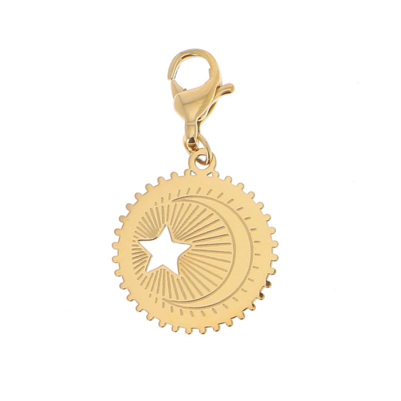 Charms étoile et demi lune doré acier inoxydable, Leyabijoux.com