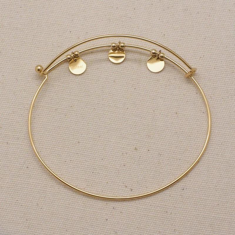 Bracelet doré pampille à personnaliser acier inoxydable, Leyabijoux.com