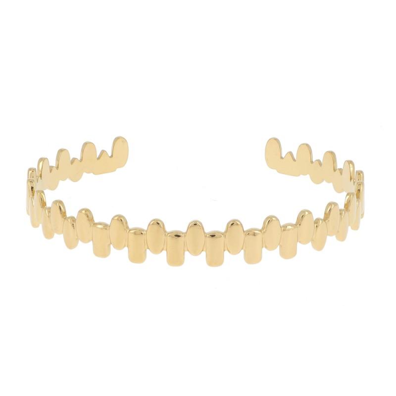 Bracelet jonc dentelé doré, Leyabijoux.com