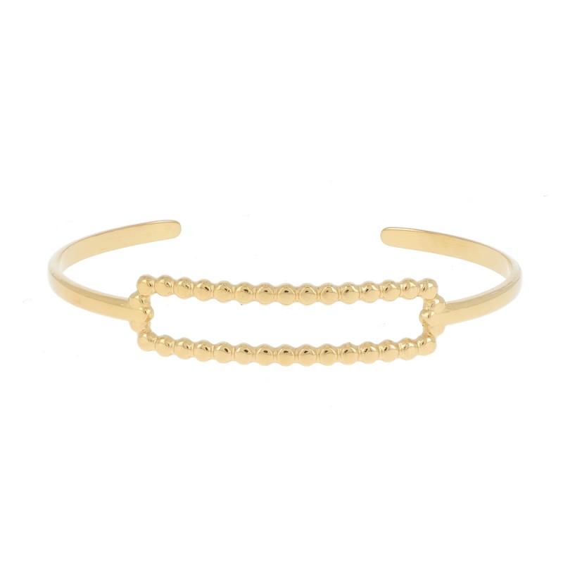 Bracelet jonc rectangulaire doré acier inoxydable, Leyabijoux.com