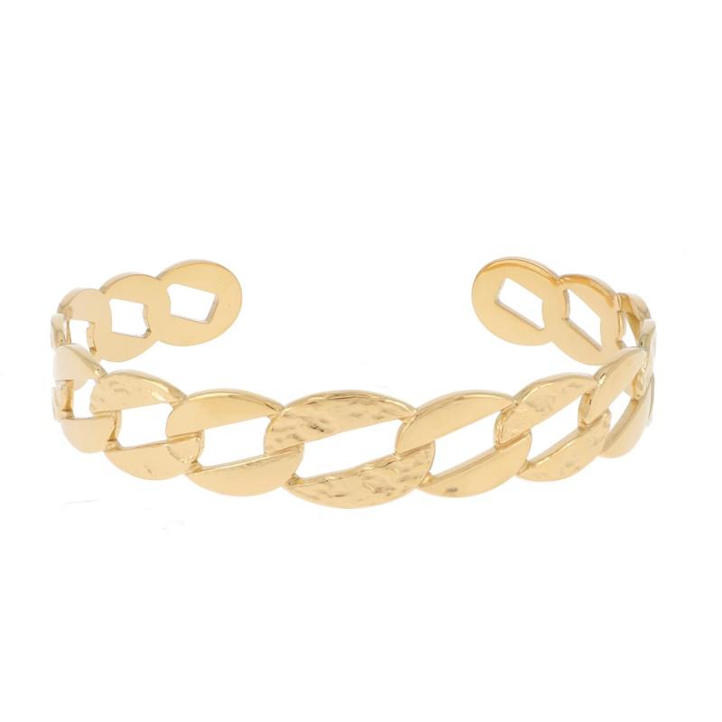 Bracelet jonc grosse maille doré acier inoxydable, Leyabijoux.com