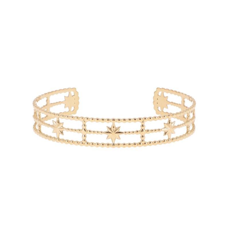 Bracelet jonc 3 rangs croix et étoile doré, Leyabijoux.com