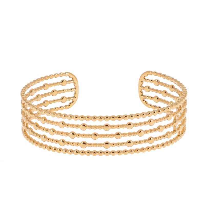 Bracelet jonc 5 rangs à pampilles doré acier inoxydable, Leyabijoux.com