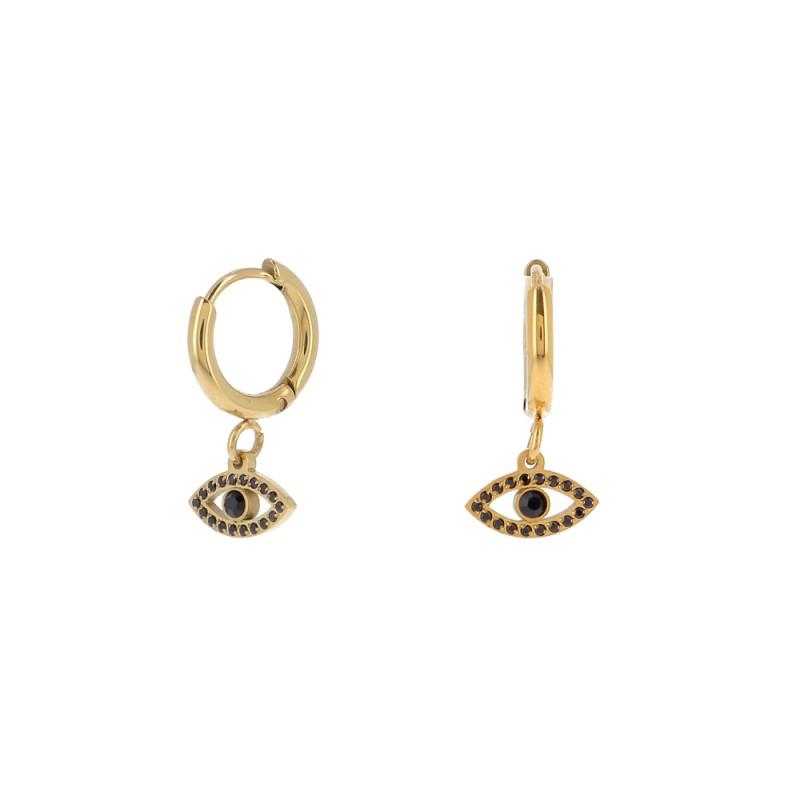 Boucles d'oreilles oeil noir doré acier inoxydable, Leyabijoux.com