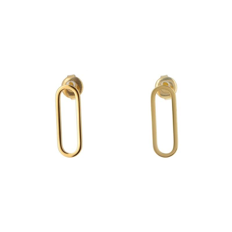 Boucles d'oreilles ovale doré acier inoxydable, Leyabijoux.com