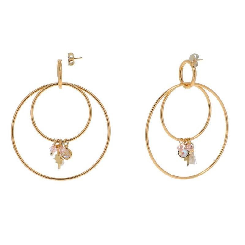 Boucles d'oreilles créole double avec pampilles rose parme, Leyabijoux.com