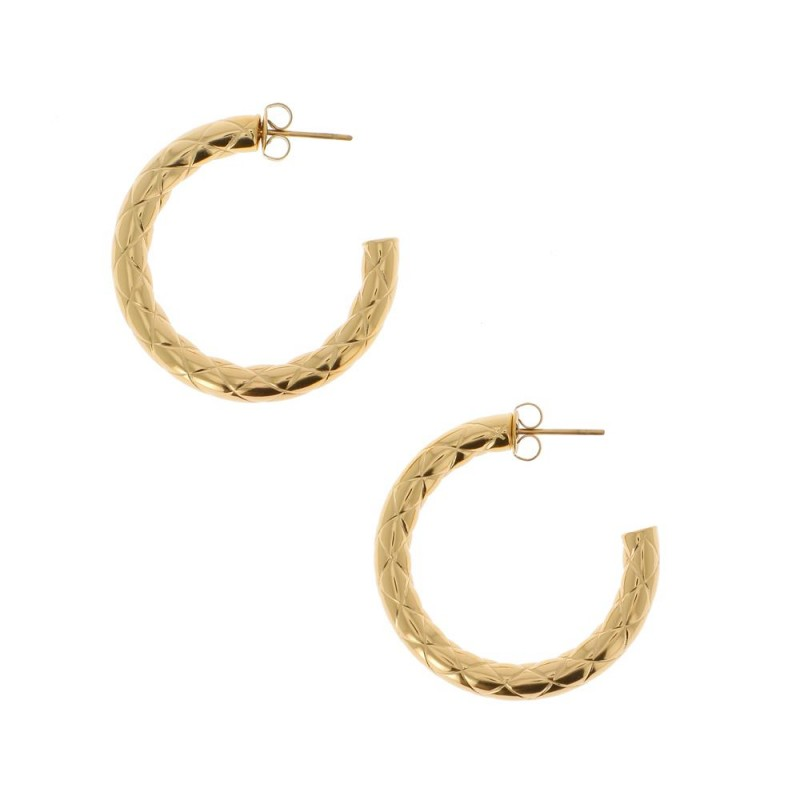 Boucles d'oreilles créole matelassé doré, Leyabijoux.com