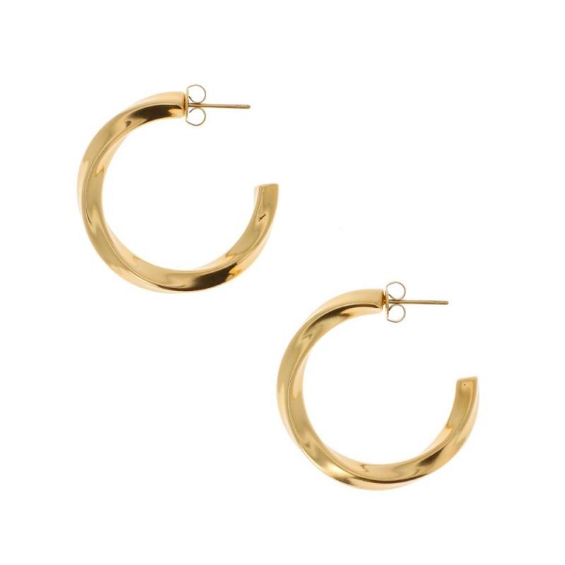 Boucles d'oreilles créole torsadée doré, Leyabijoux.com