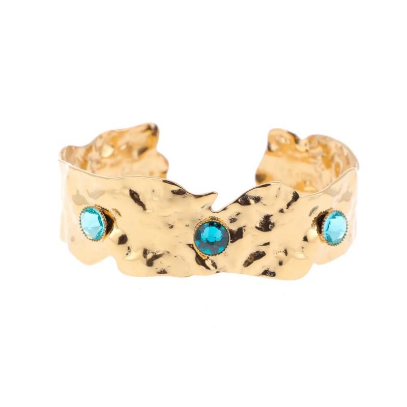 Bracelet jonc à 3 cristaux de Swarovski vert, Leyabijoux.com