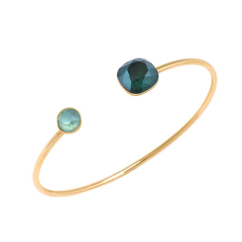 Bracelet jonc 2 cristaux de Swarovski vert, Leyabijoux.com