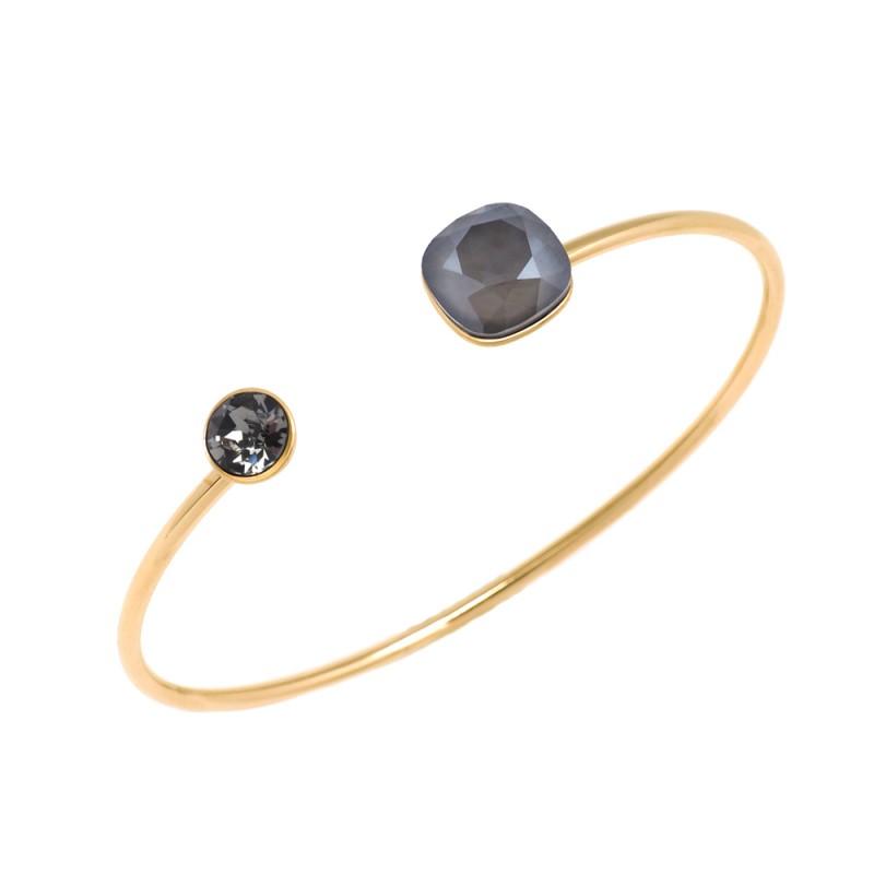 Bracelet jonc 2 cristaux de Swarovski noir, Leyabijoux.com