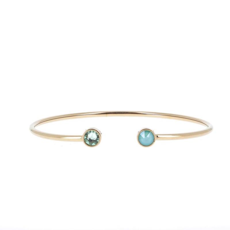 Bracelet jonc fin 2 cristaux de Swarovski vert, Leyabijoux.com