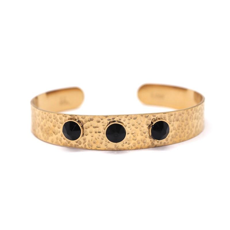 Bracelet jonc à 3 cristaux de Swarovski noir, Leyabijoux.com