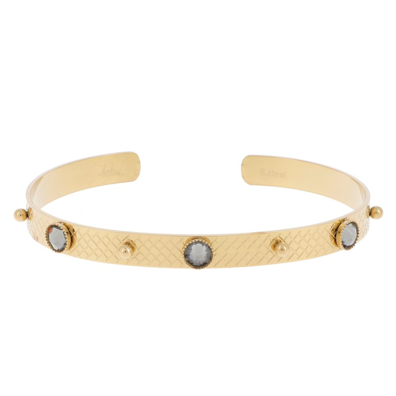 Bracelet jonc à 3 cristaux de Swarovski gris, Leyabijoux.com