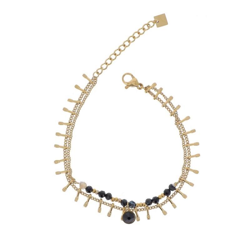 Bracelet doré chaîne multipe et cristaux noir Swarovski, Leyabijoux.com