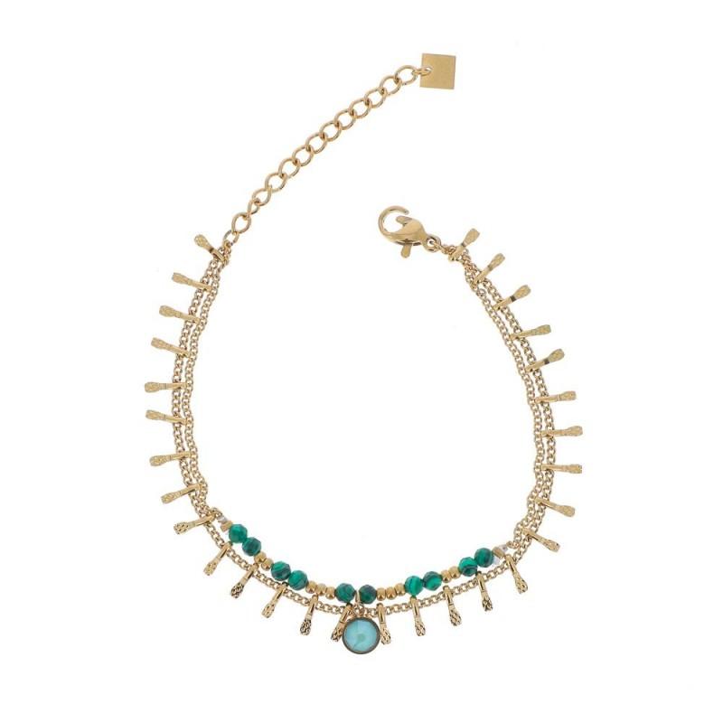 Bracelet doré chaîne multipe et cristaux vert Swarovski, Leyabijoux.com