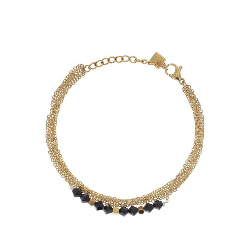 Bracelet chaîne multipe doré et cristaux gris Swarovski, Leyabijoux.com