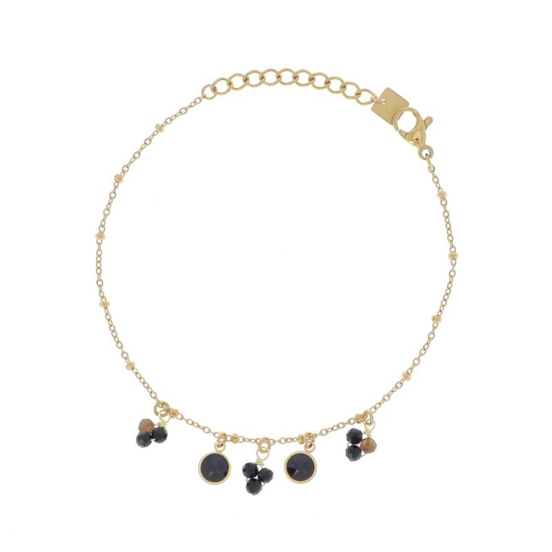 Bracelet chaîne simple doré et cristaux noir Swarovski, Leyabijoux.com