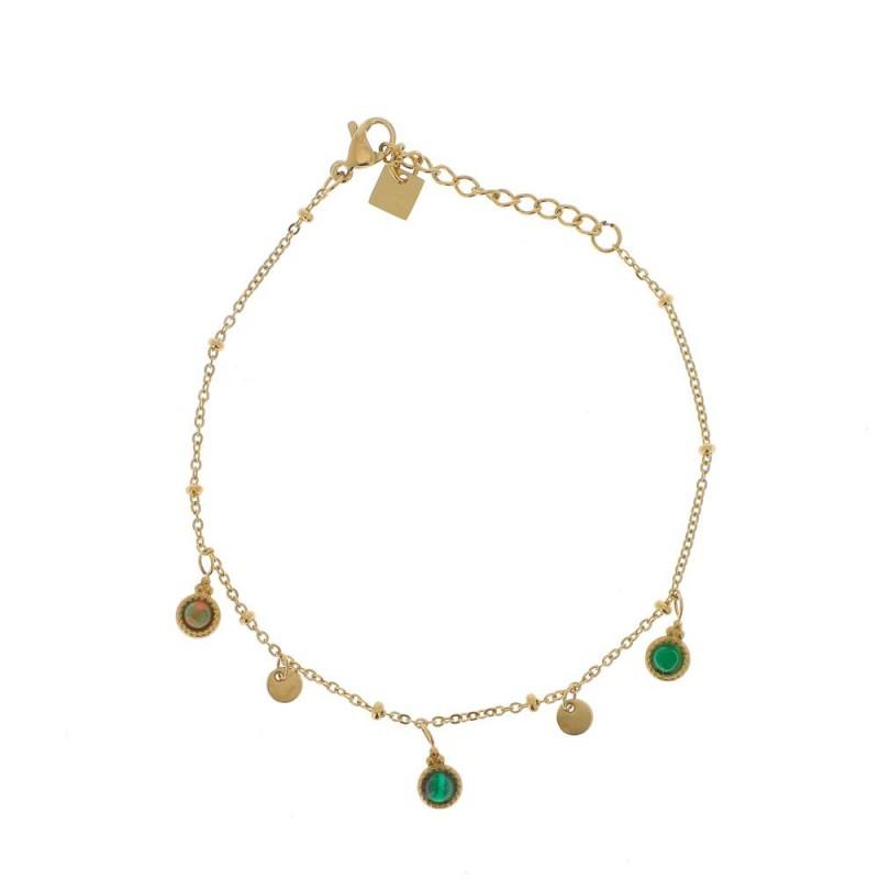 Bracelet chaîne simple doré et pampilles vert, Leyabijoux.com