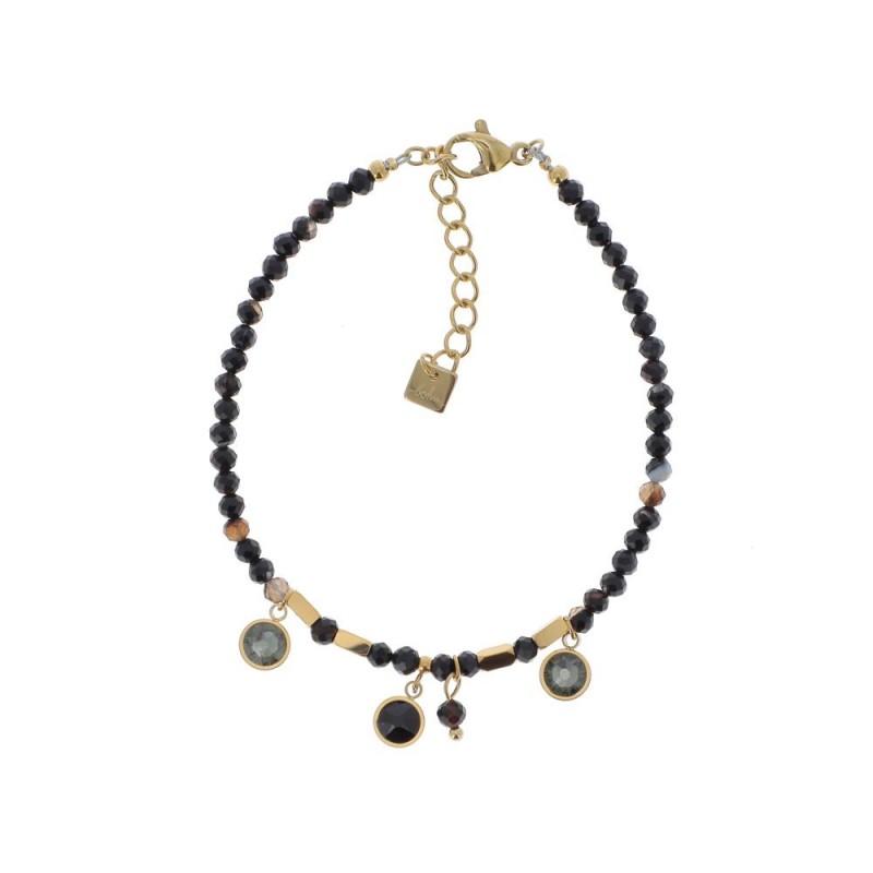 Bracelet doré chaîne simple et cristaux noir Swarovski, Leyabijoux.com