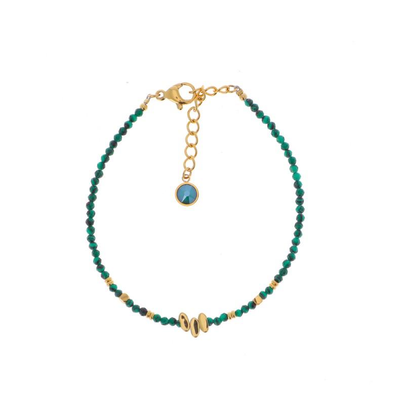 Bracelet chaîne simple doré en pierre naturelle vert, Leyabijoux.com