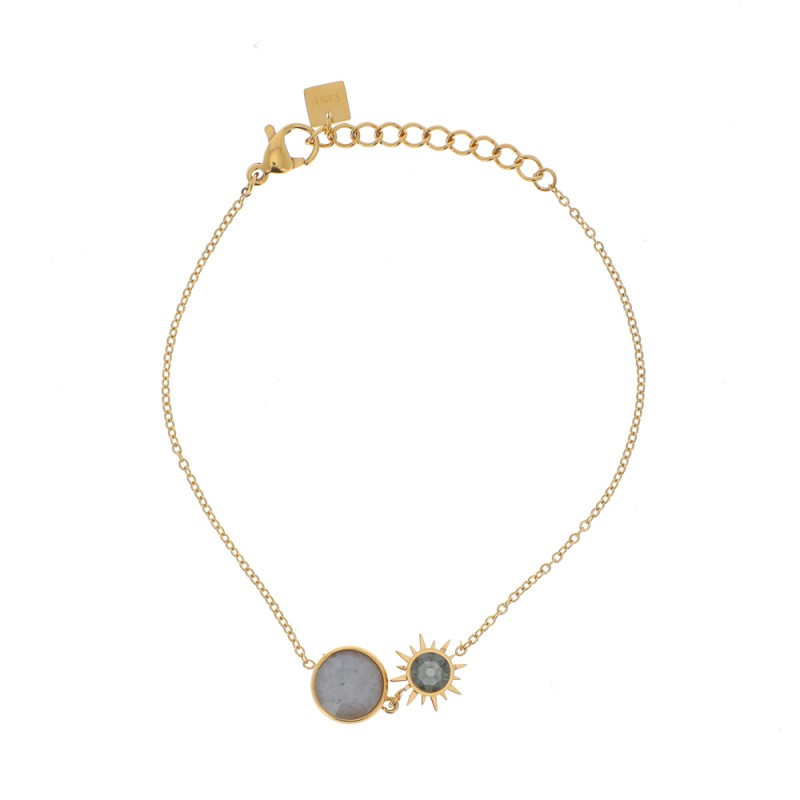 Bracelet soleil gris doré acier inoxydable, Leyabijoux.com
