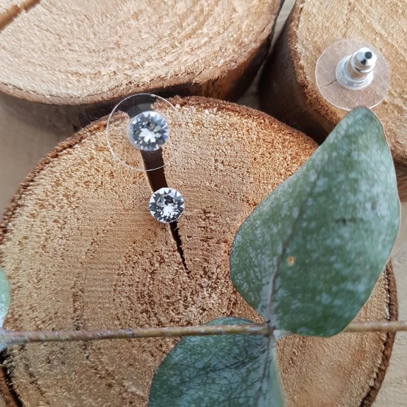 Boucles d'oreilles cristal Swarovski transparente, Leyabijoux.com