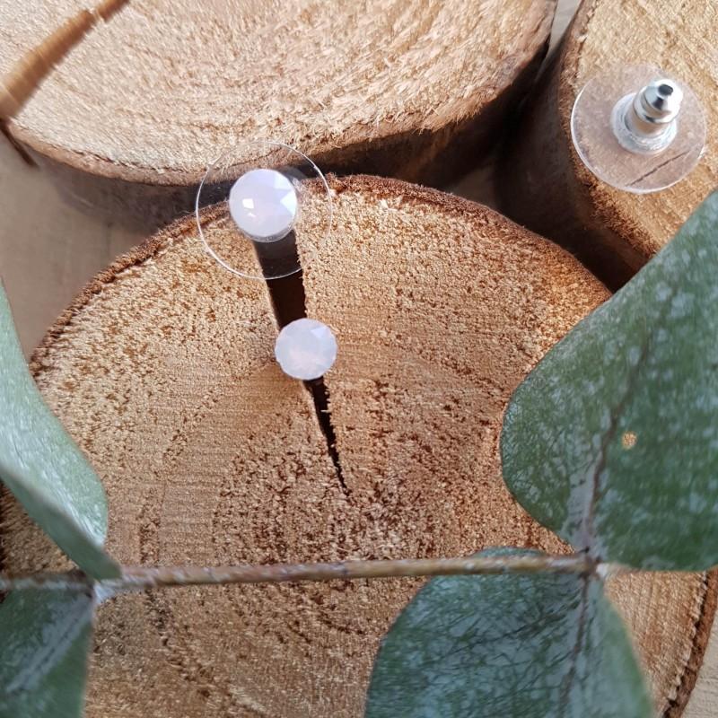 Boucles d'oreilles cristal Swarovski rose pastel, Leyabijoux.com