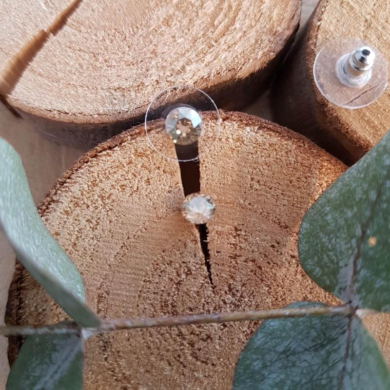 Boucles d'oreilles cristal Swarovski beige, Leyabijoux.com