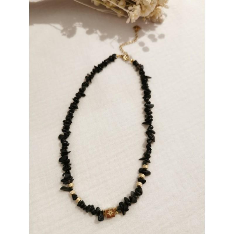 Collier Onyx noir en pierre naturelle, en acier inoxydable