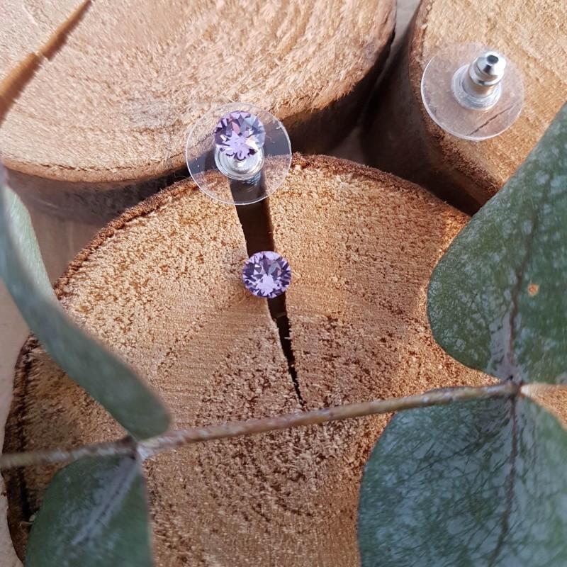 Boucles d'oreilles cristal Swarovski violet, Leyabijoux.com