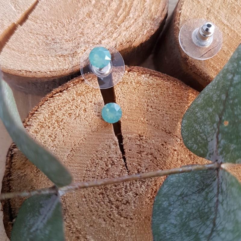 Boucles d'oreilles cristal Swarovski vert d'eau, Leyabijoux.com