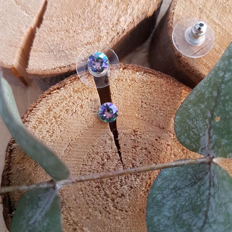 Boucles d'oreilles cristal Swarovski violet vert, Leyabijoux.com