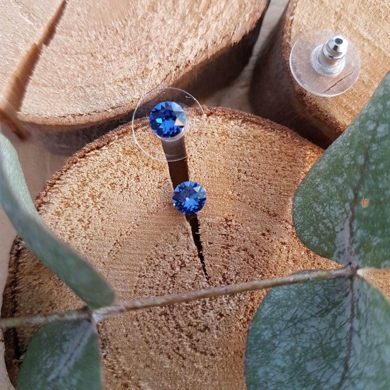 Boucles d'oreilles cristal Swarovski bleu, Leyabijoux.com