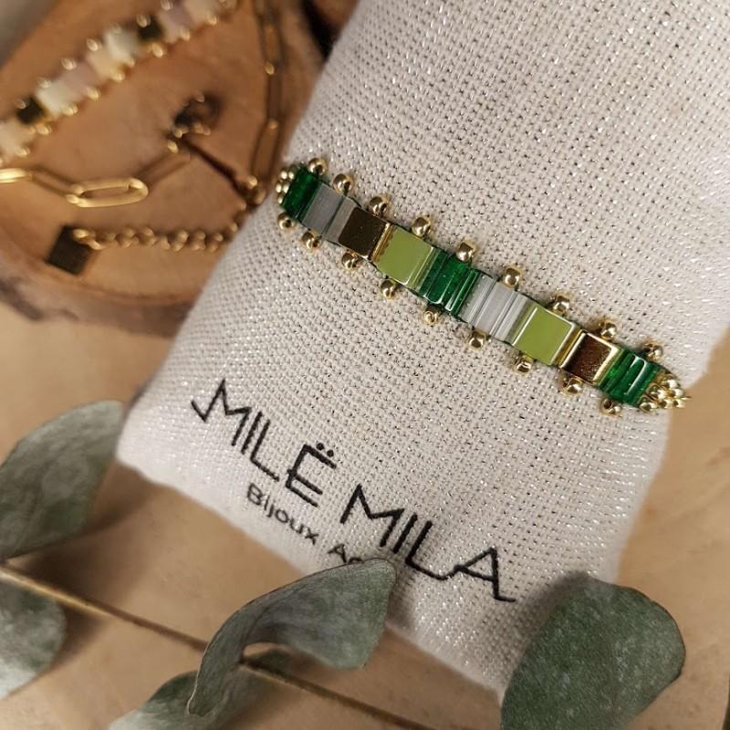 Bracelet doré avec pierre de Miyuki vert nuancés or doré, Leyabijoux.com