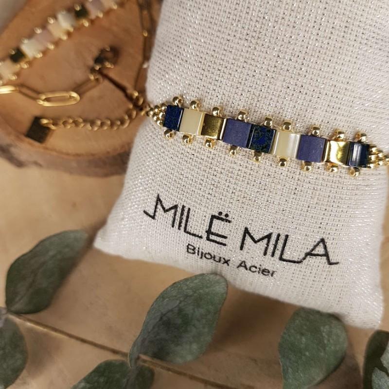 Bracelet doré avec pierre de Miyuki bleu marine, Leyabijoux.com