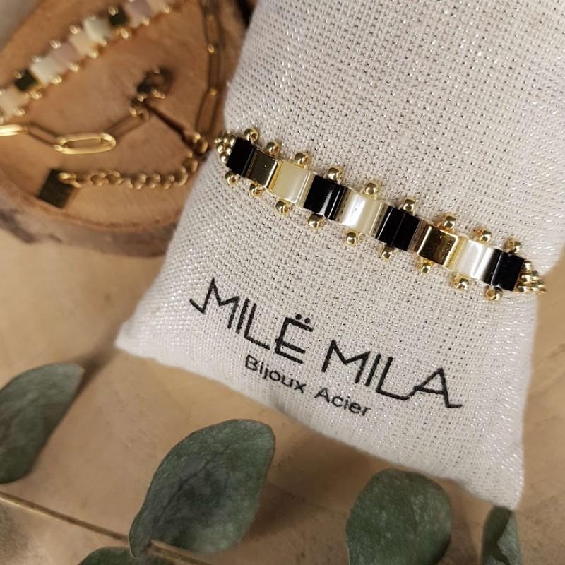 Bracelet doré avec pierre de Miyuki noir et blanc, Leyabijoux.com