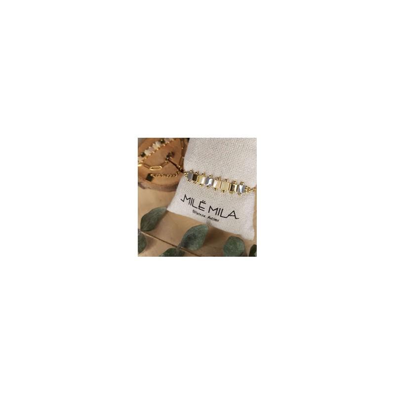 Bracelet doré avec pierre de Miyuki gris blanc doré, Leyabijoux.com