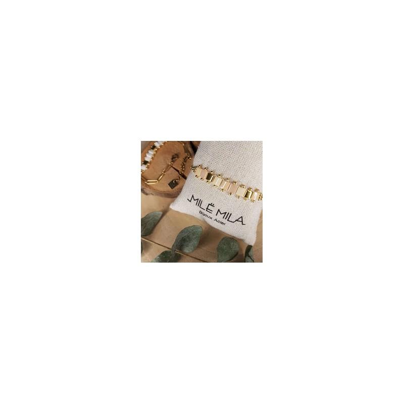 Bracelet doré avec pierre de Miyuki rose parme or doré, Leyabijoux.com