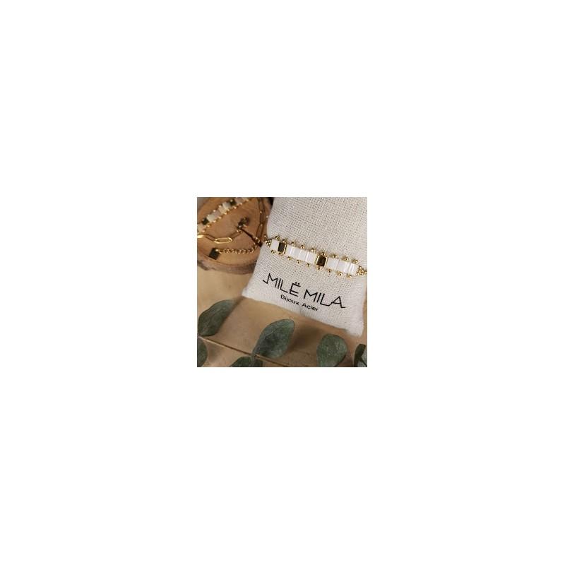 Bracelet doré avec pierre de Miyuki blanc or doré, Leyabijoux.com