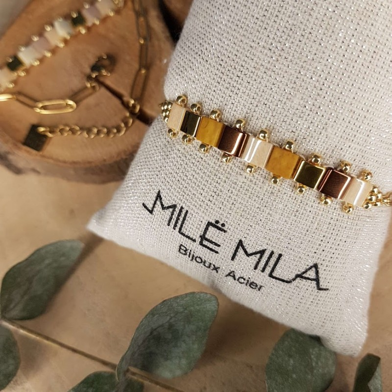 Bracelet doré avec pierre de Miyuki marron or beige, Leyabijoux.com