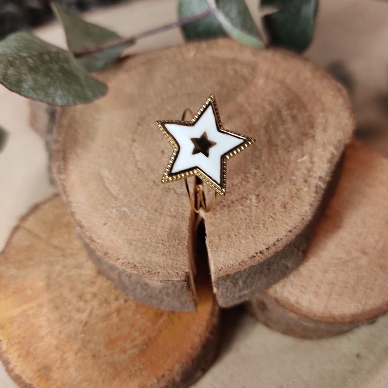 Bague étoile blanche, en acier inoxydable, taille unique