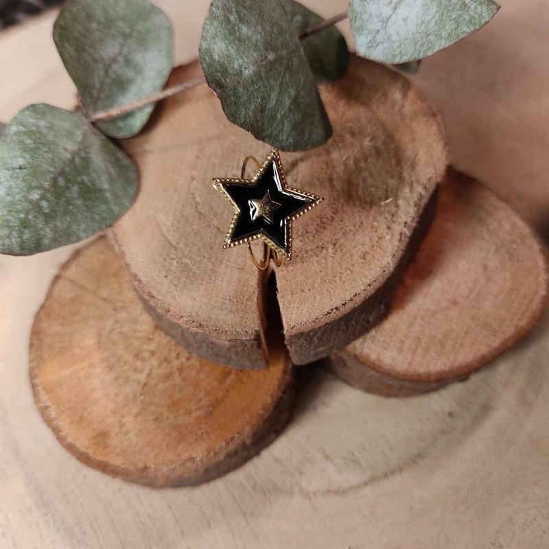 Bague étoile noire, en acier inoxydable, taille unique