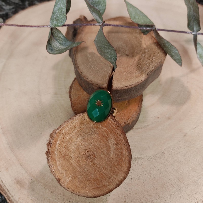 Bague ovale verte émeraude, en acier inoxydable, taille unique